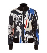 Dkny Ripped Rose Print Bomber Jacket Female Multi