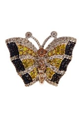 Savvy Cie 14K Yellow Gold Plated Sterling Silver Pave Multicolor Diamond Butterfly Ring 1.25 Ctw