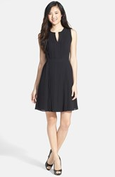 Women's Halogen Pleated Fit And Flare Dress Black
