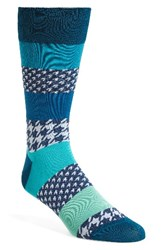 Bugatchi Men's Houndstooth Socks Teal