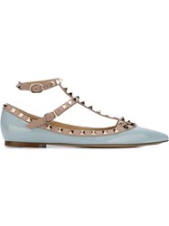 Valentino Garavani Studded Ballerina Shoes Blue