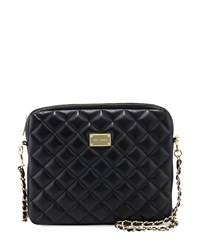St. John Quilted Leather Chain Shoulder Bag Black Gold
