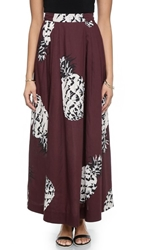 Msgm Pineapple Long Full Skirt Brown