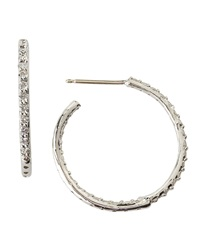 Fantasia Cubic Zirconia Hoop Earrings White Gold Silver Red