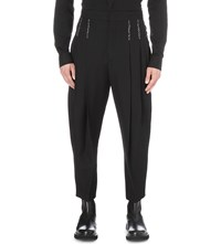 Haider Ackermann Topstitch Pleated Fleece Wool Trousers Black