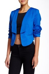 Madison Square Wilde Heart Back Zip Cropped Blazer Blue
