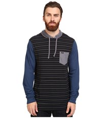 Rvca Set Up Hoodie Black Blue Men's Sweatshirt