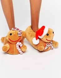 Asos Newlybreads Christmas Gingerbread Slippers Ginger Tan