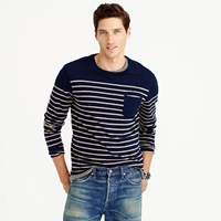 J.Crew Nautical Engineered Stripe Long Sleeve T Shirt In Cotton