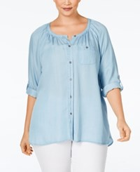 Styleandco. Style And Co. Plus Size Denim Peasant Shirt Only At Macy's Ice Wash