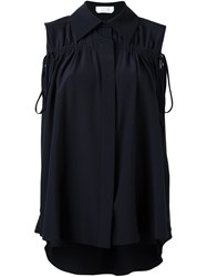 Chloe Drawstring Sleeveless Blouse Blue