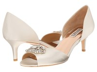 Badgley Mischka Petrina Ivory Satin High Heels Bone