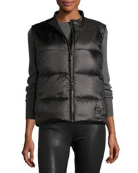 Fleurette Reversible Quilted Puffer Vest W Fur Trim Black