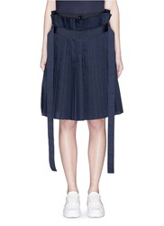 Sacai Paperbag Waist Pleat Poplin Long Shorts Blue