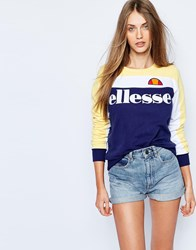 Ellesse Oversized Crew Neck Sweatshirt With Colour Block Logo Multi