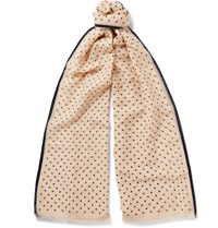 Kingsman Drake's Polka Dot Cotton And Silk Blend Scarf Neutrals