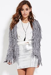 Forever 21 Sequined Mini Skirt Silver