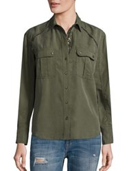 Free People Off Campus Embellished Utility Shirt Moss