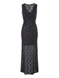Jane Norman Sequin Lace Maxi Dress Black
