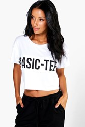 Boohoo Patch Front Slogan Boxy Tee White