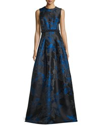 Carmen Marc Valvo Sleeveless Pleated Floral Satin Gown Royal Black