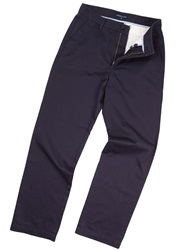 Raging Bull Tailored Flat Front Chino Trousers. Navy
