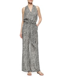 Tory Burch Tribal Print Wide Leg Jumpsuit Black Tribal Geo