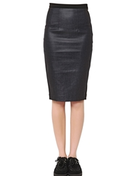 Cycle Cotton Blend Denim And Jersey Pencil Skirt Blue Black