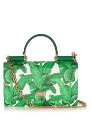 Dolce And Gabbana Mini Von Banana Leaf Print Cross Body Bag Green White