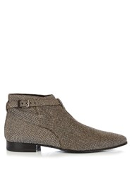 Saint Laurent London Brocade Ankle Boots Silver Multi