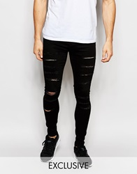 Waven Jeans Exclusive To Asos Extreme Super Skinny Fit Mid Rise Clean Black Extreme Rips Cleanblack