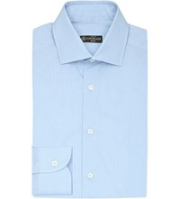 Corneliani Striped Slim Fit Cotton Shirt Blue