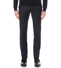 Corneliani Tailored Fit Stretch Wool Trousers Navy