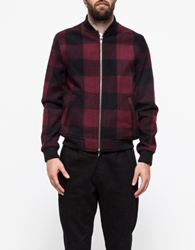 Red Check Wool Bomber Jacket