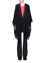 St. John Crochet Trim Crepe Knit Open Cardigan Black
