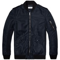 Saint Laurent Nylon Military Bomber Jacket Navy