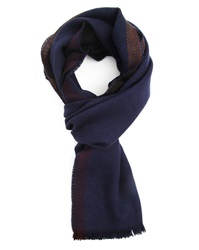 Commune De Paris Merino Two Sided Blue And Black Scarf