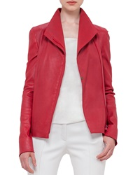 Akris Punto Long Sleeve Stretch Leather Jacket Cherry Red