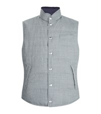 Brunello Cucinelli Reversible Wool And Nylon Down Gilet Male Light Grey
