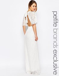 John Zack Petite All Over Lace Maxi Dress With Keyhole Front And Open Back Detail White