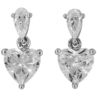 Jools By Jenny Brown Small Cubic Zirconia Heart Drop Earrings Silver