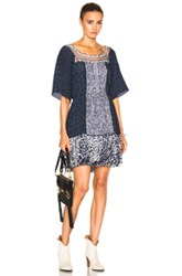 Chloe Lace And Double Georgette Dress In Blue Abstract Geometric Print Blue Abstract Geometric Print