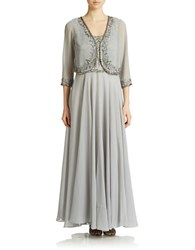 J Kara Beaded Gown And Jacket Silver