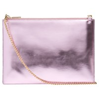 Whistles Rivington Metallic Clutch Bag Pale Pink