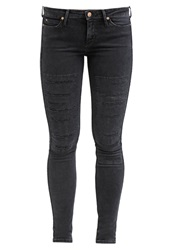 Lee Skin To Skin Slim Fit Jeans Black Slashed Dark Gray