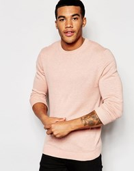 Asos Crew Neck Jumper In Pink Cotton Pink