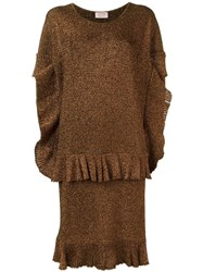 Lanvin Layered Ruffle Dress Brown
