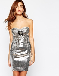 Arrogant Cat Embellished Sequin Bandeau Dress Silver