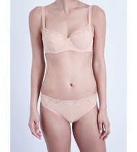 Wolford Cotton Contour Lace Underwired Bra Rose Tan