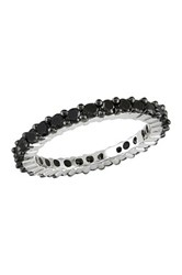 Sterling Silver Black Diamond Eternity Band 1.0 Ctw